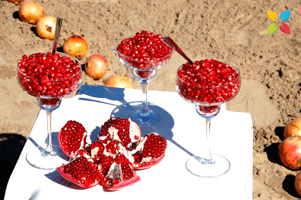 Glasses of Pomegranante Seeds