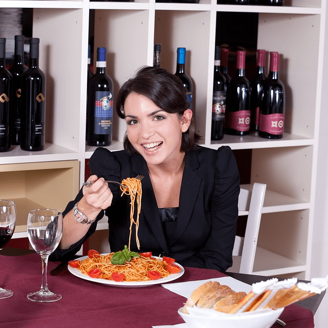 Woman Eating Pasta Red Sauce Wine Italian