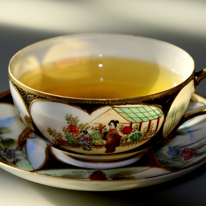 Hot Cup Of Green Tea Traditional
