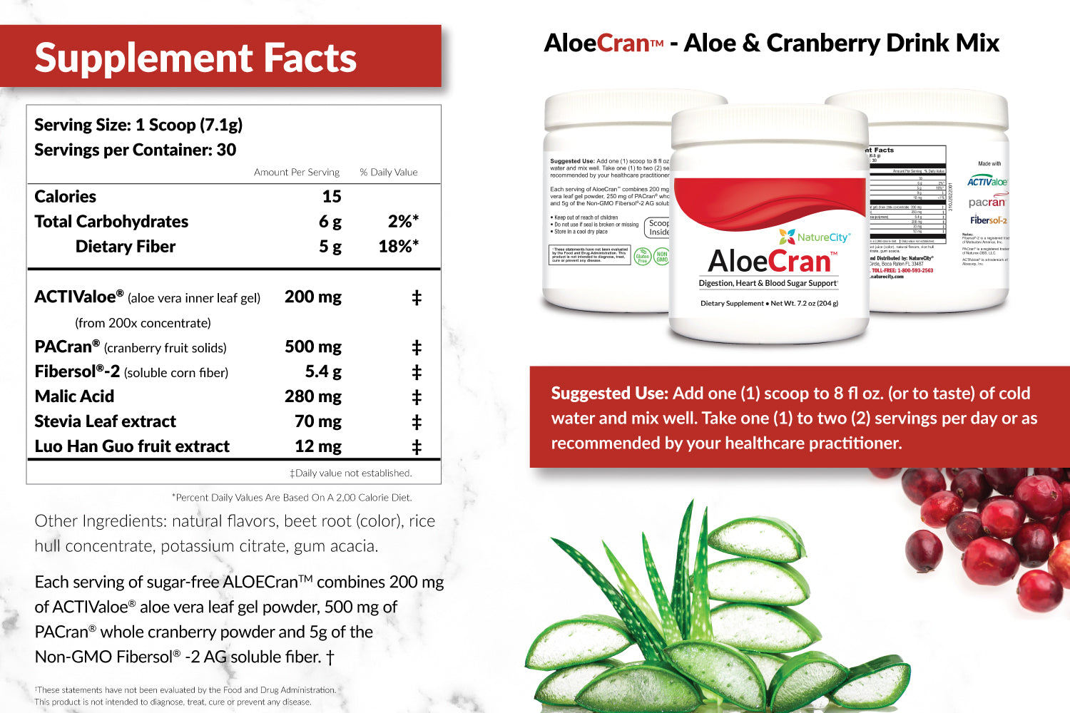 AloeCran Supplement Facts and Suggested Use