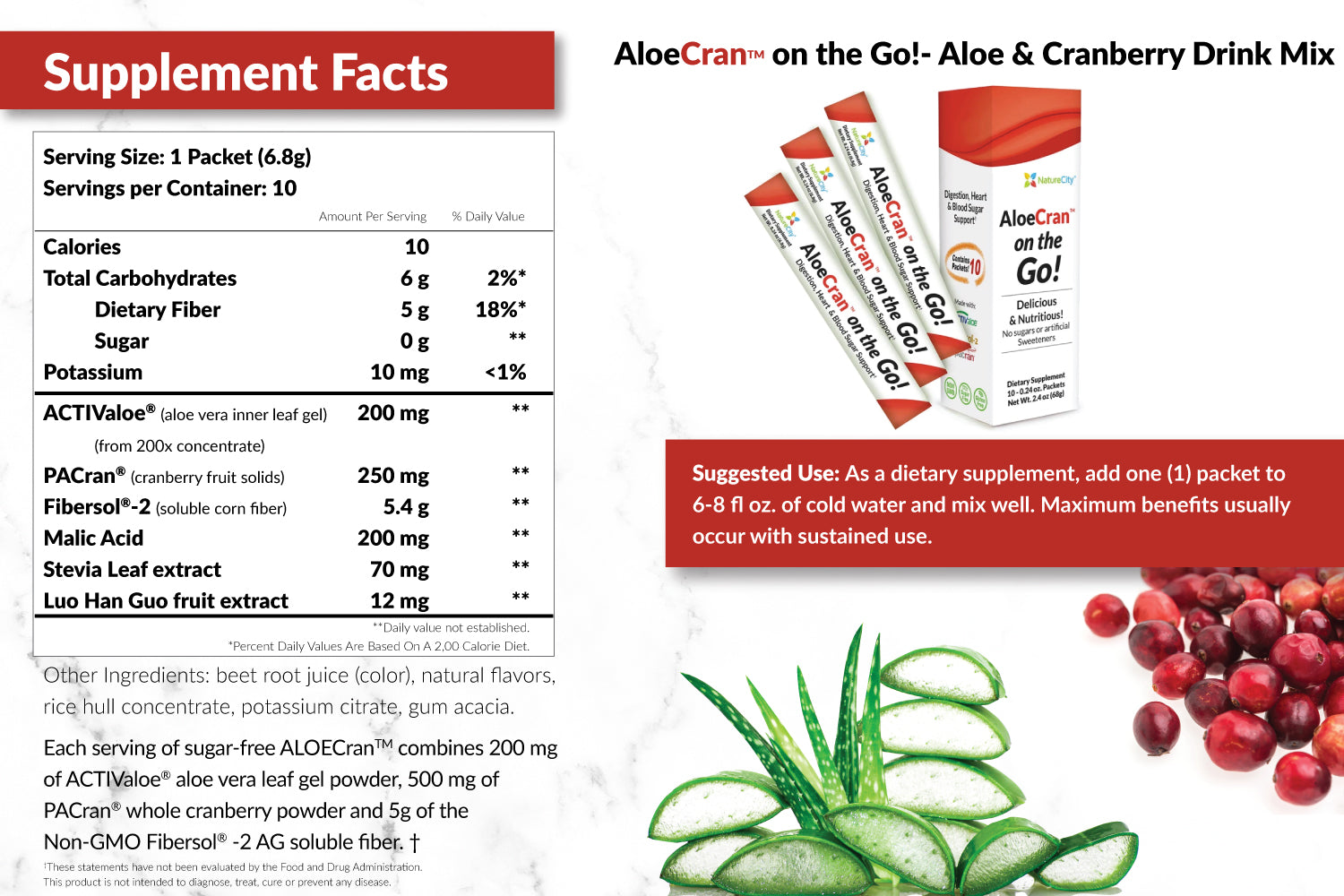 AloeCran on the Go Supplement Facts