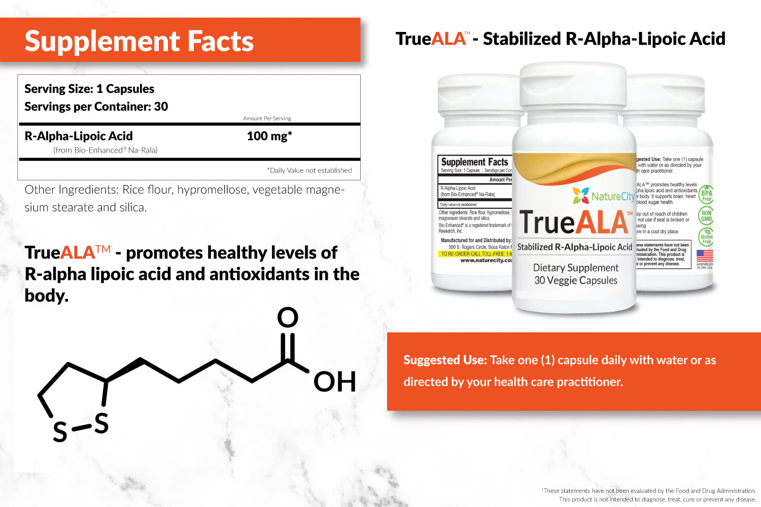 TrueALA Stabilized R-ALA Supplement Facts and Suggested Uses