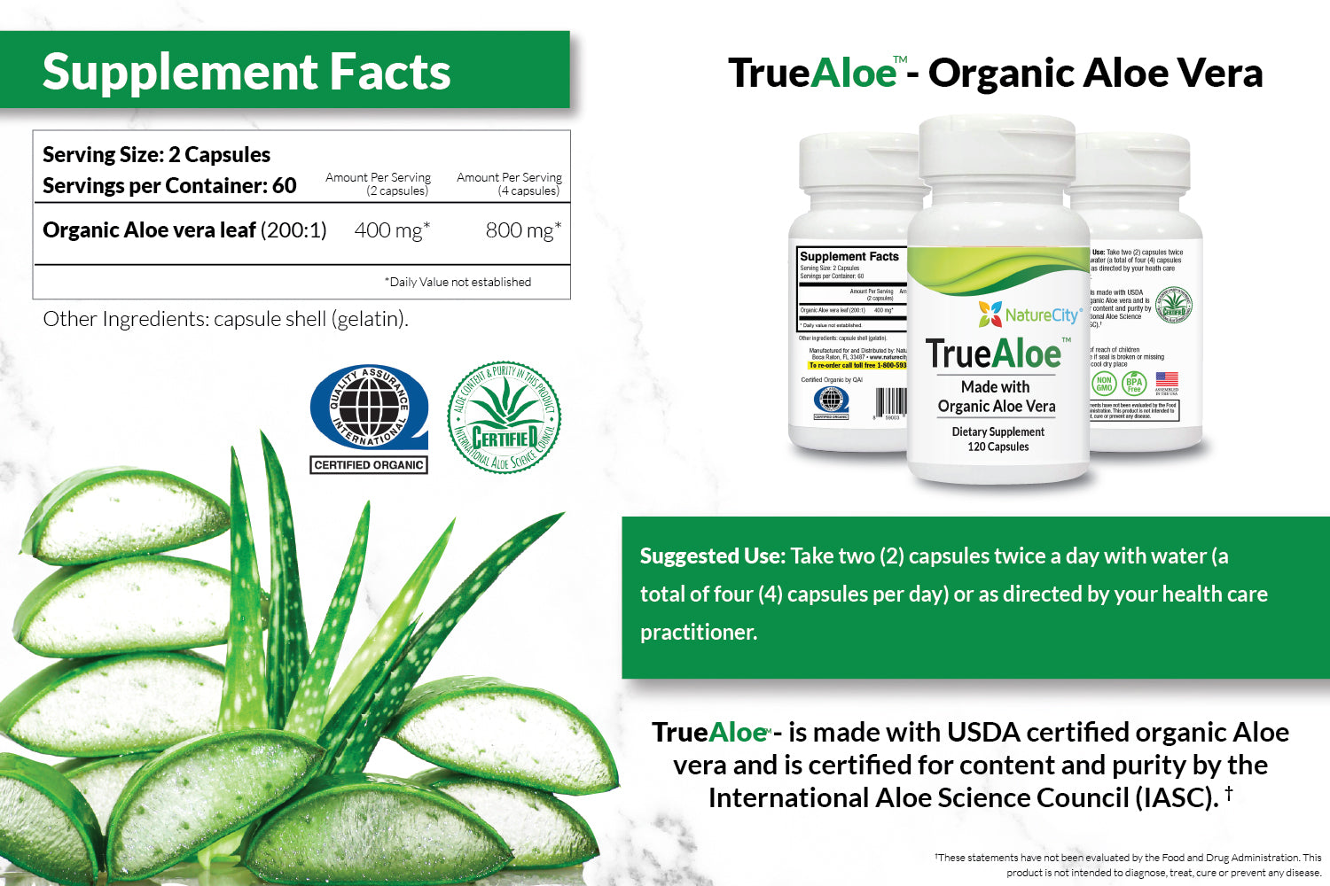 TrueAloe Organic Aloe Vera Supplement Facts and Suggested Use
