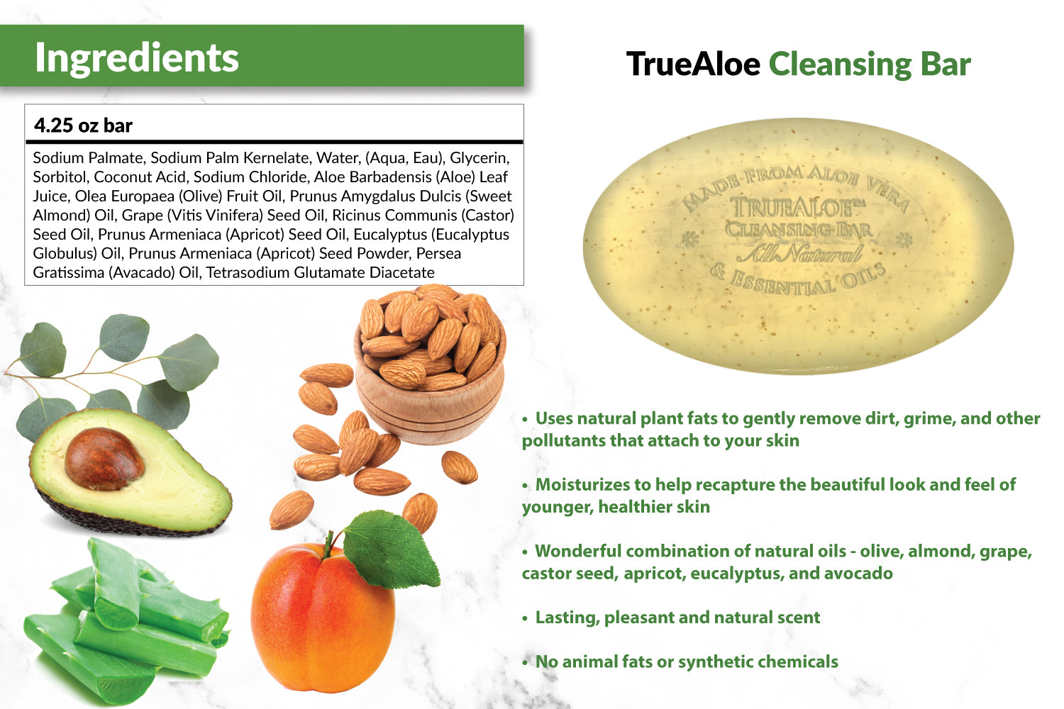 TrueAloe Cleansing Bar Soap Suggested Use