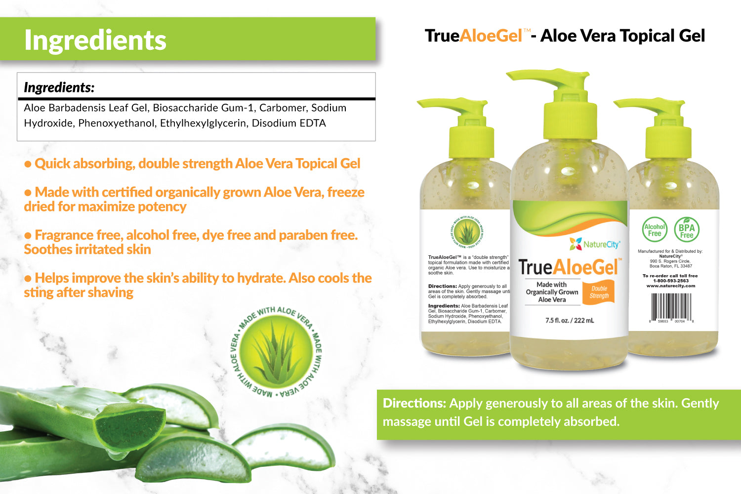 Double Strength Aloe Vera Gel for Skin Soothing and Hydration