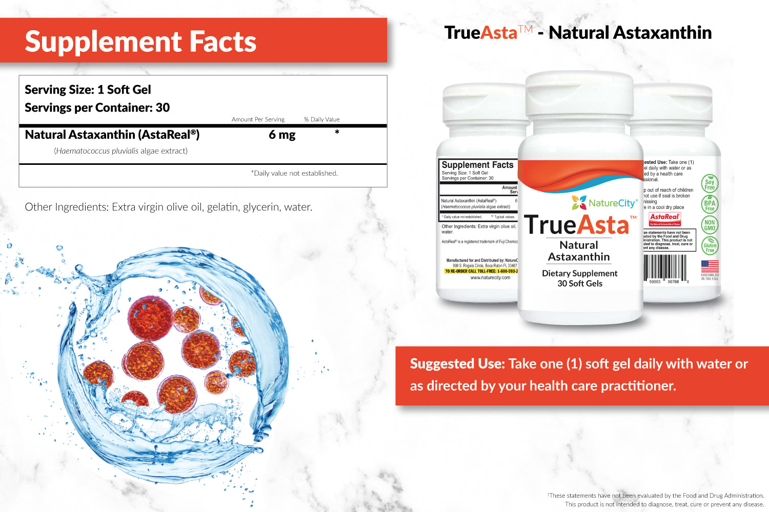TrueAsta Astaxanthin Supplement Facts and Suggested Use