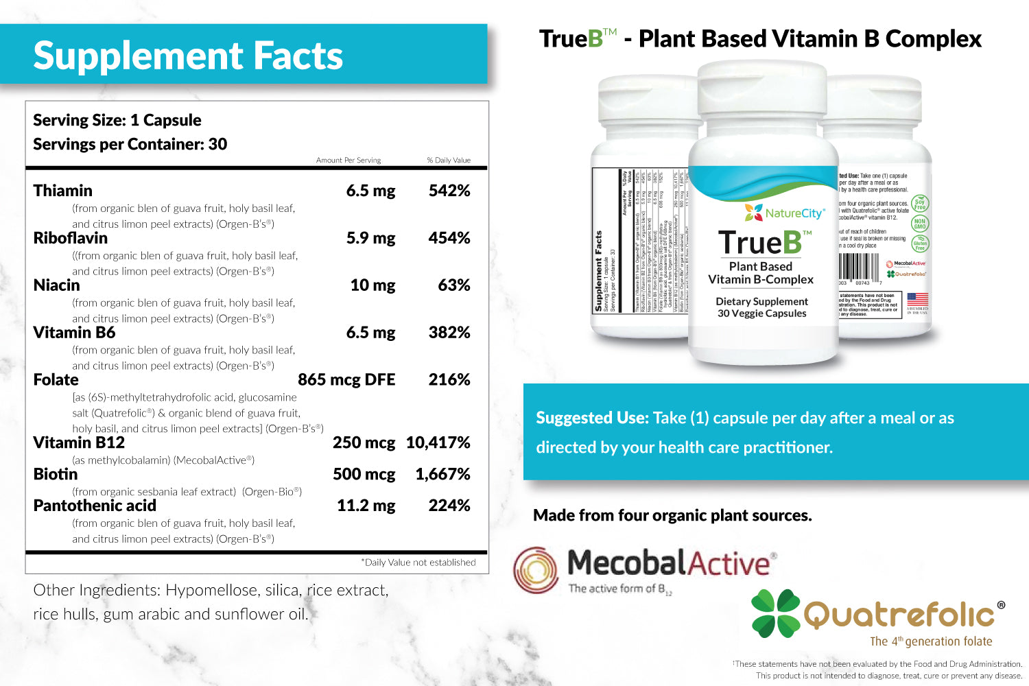 TrueB Vitamin B Complex Supplement Facts and Suggested Use