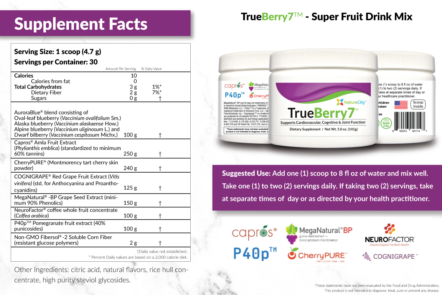 TrueBerry7 Super Fruit Supplement Facts and Suggested Use