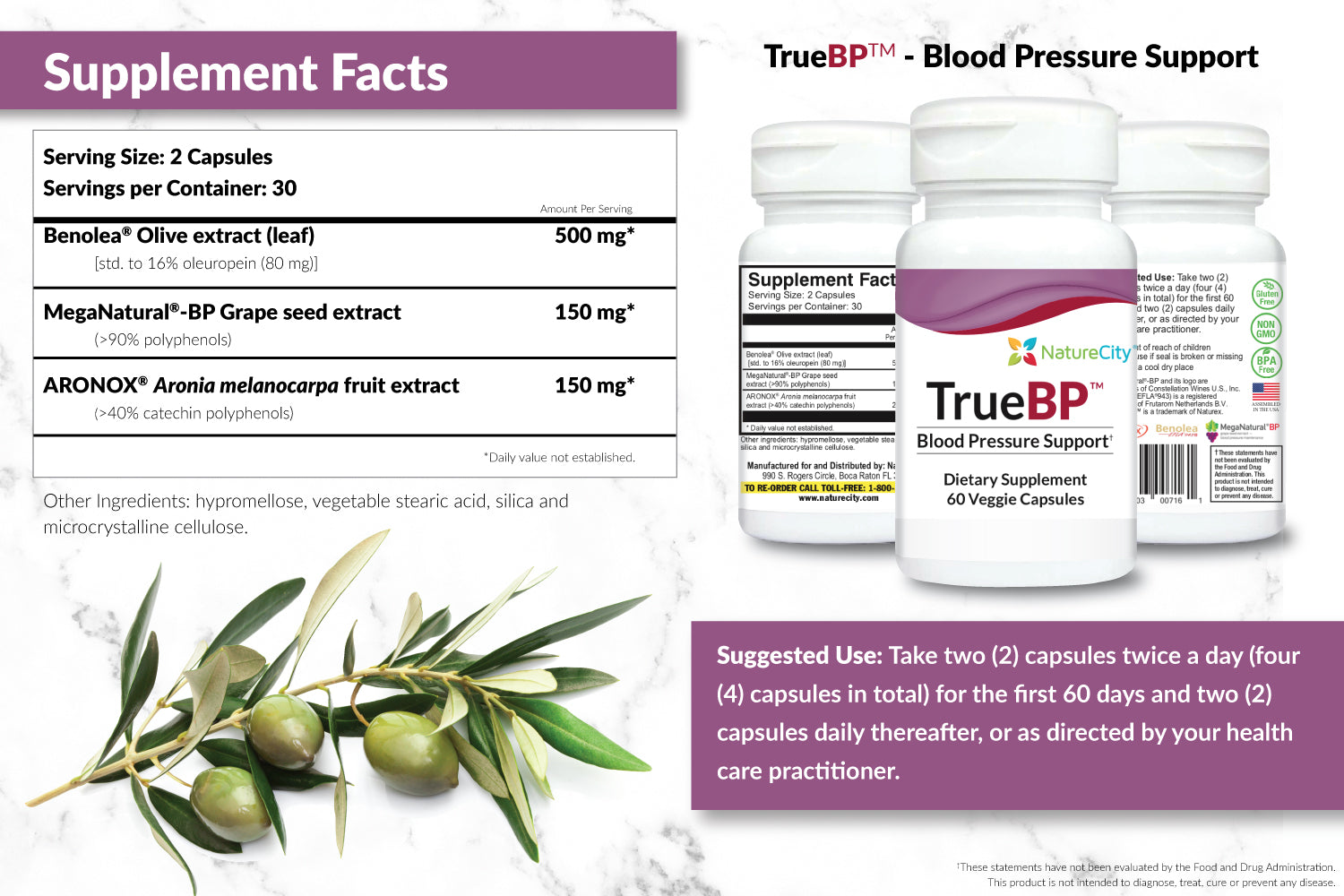 TrueBP Blood Pressure Supplement Facts and Suggested Use