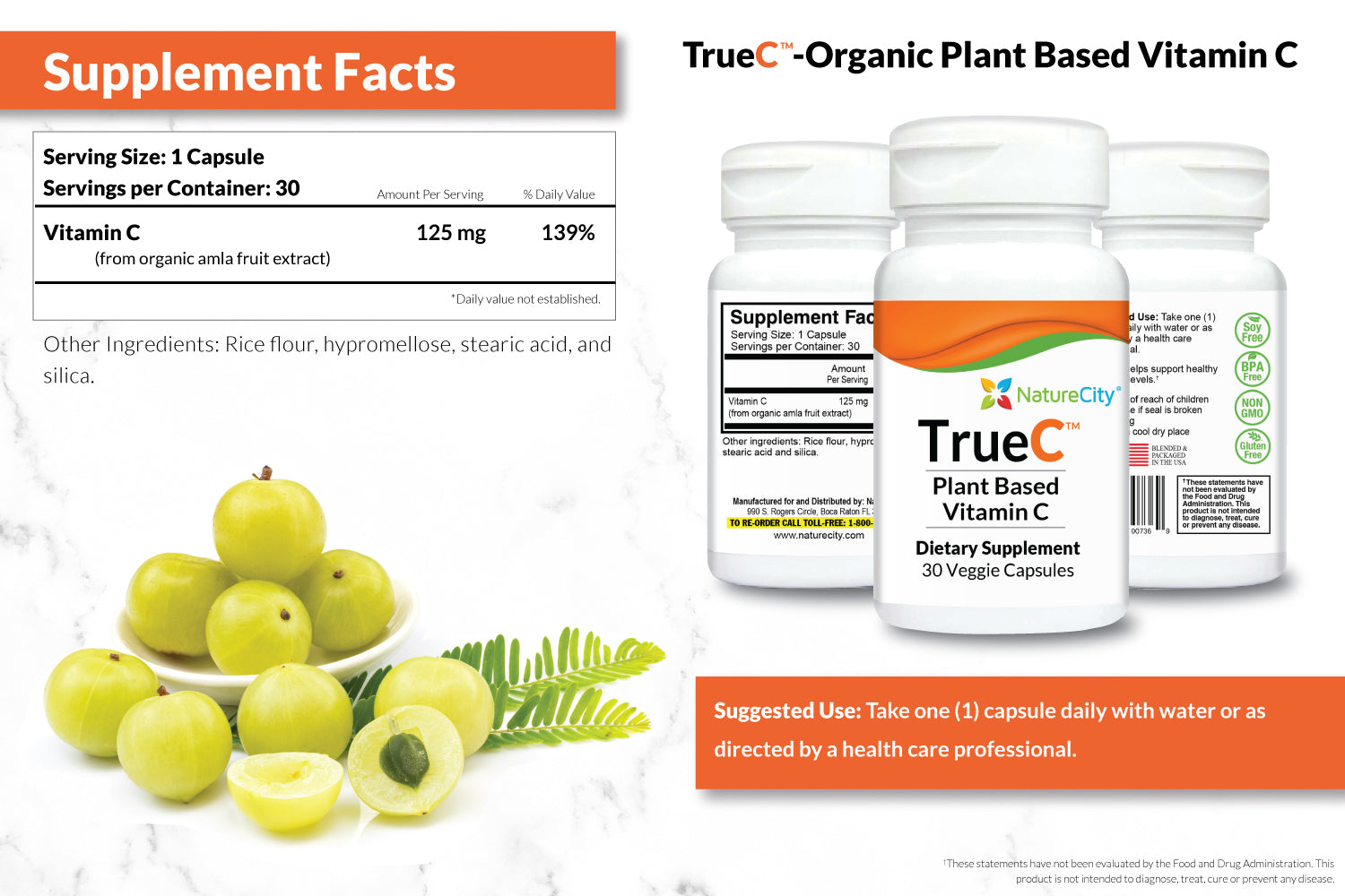 TrueC Supplement Facts and Suggested Use