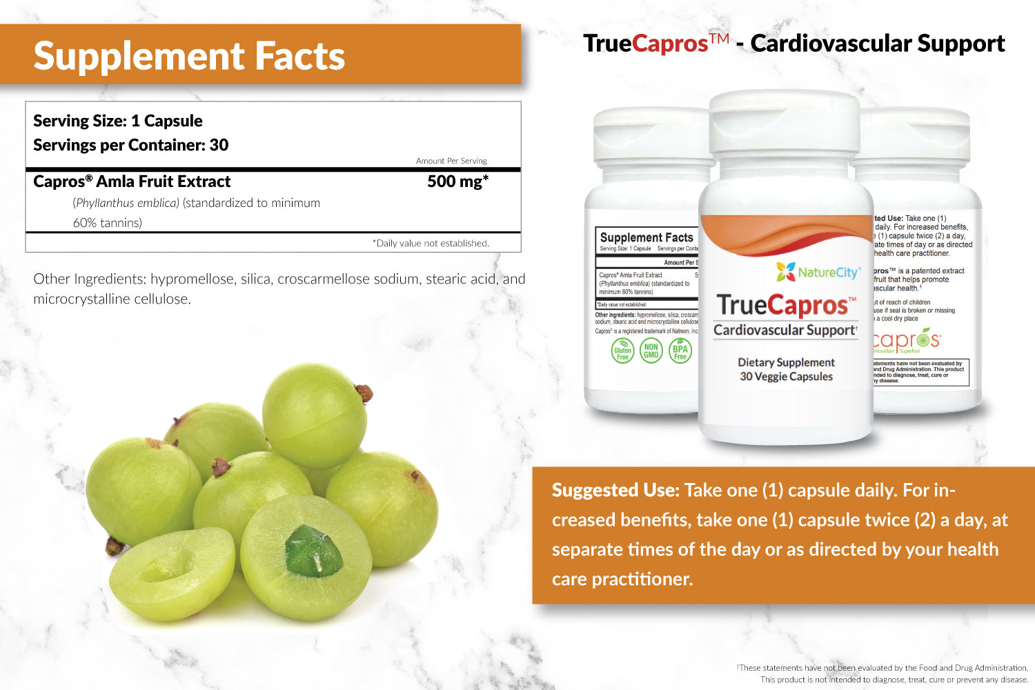 TrueCapros Heart Support Supplement Facts and Suggested Use