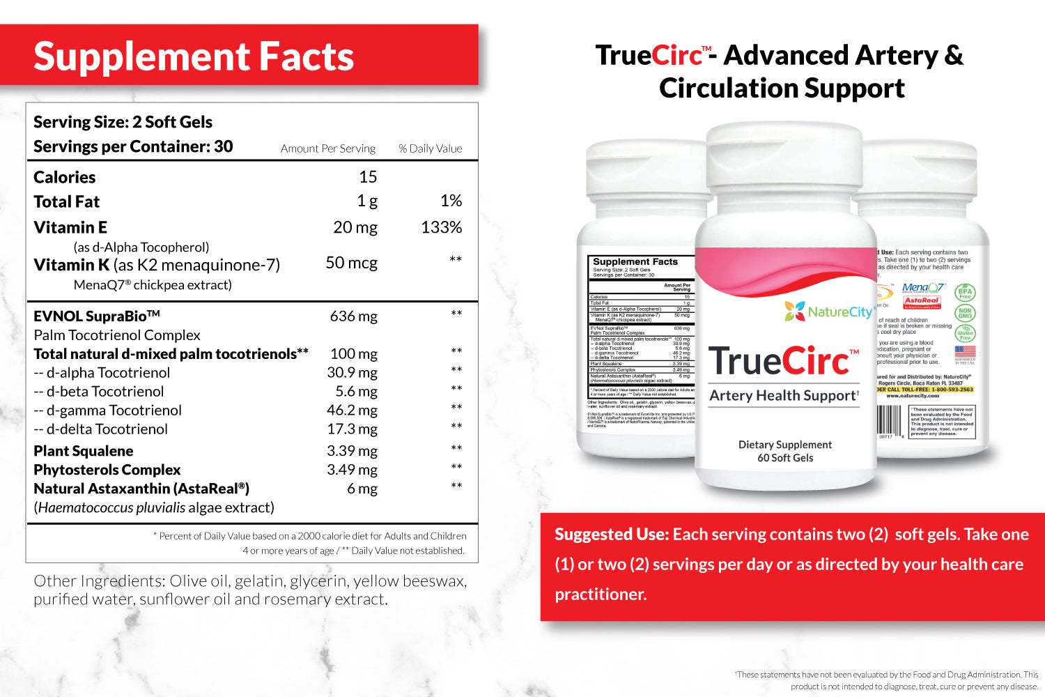 TrueCirc Supplement Facts and Suggested Use
