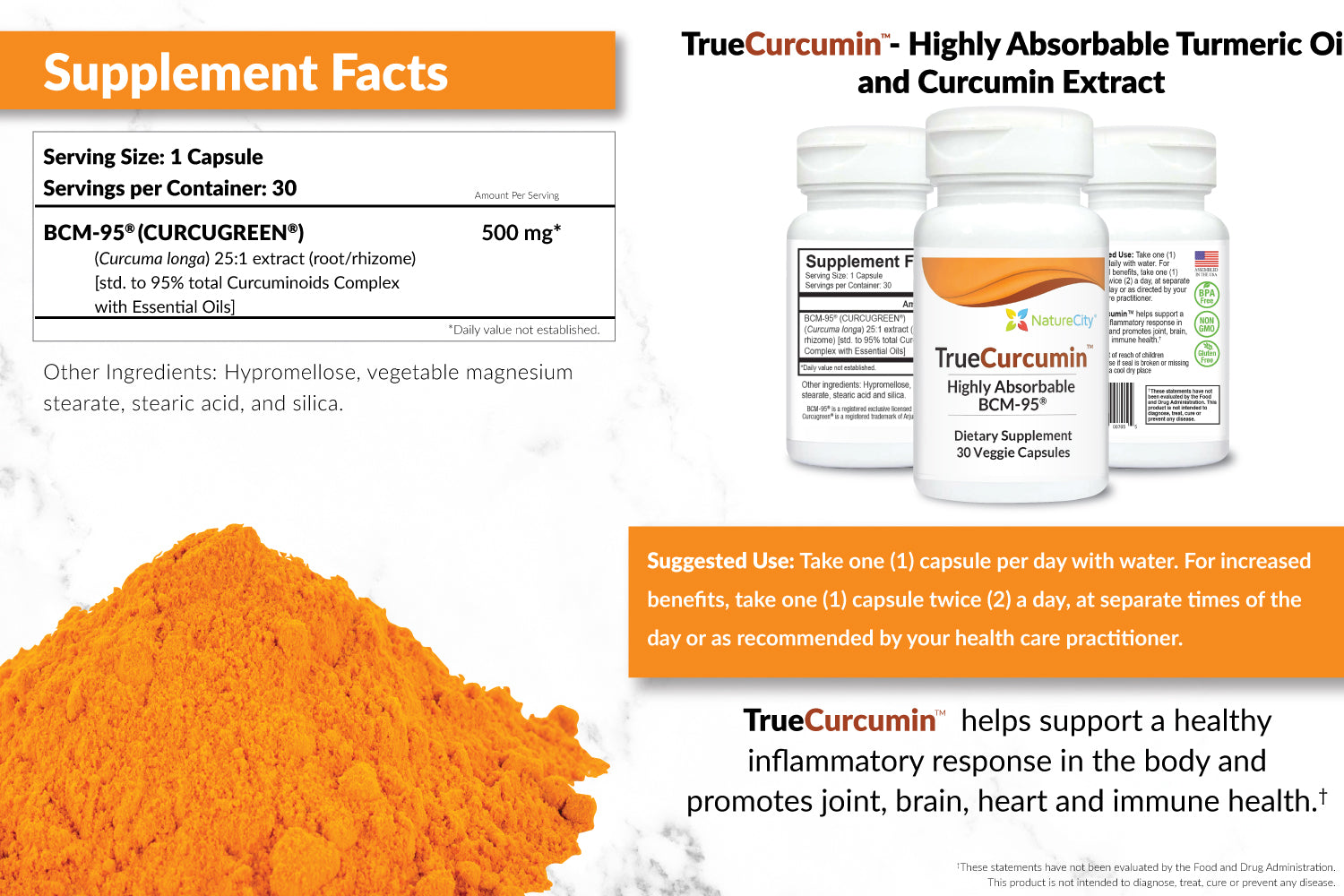 TrueCurcumin Turmeric Oil Extract Supplement Facts and Suggested Use