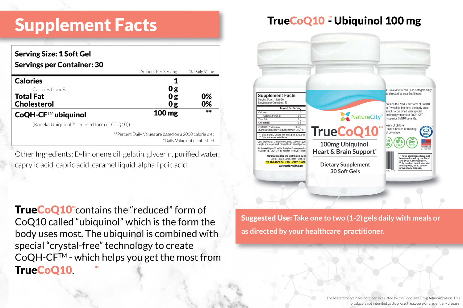 TrueCoQ10 Stabilized Supplement Facts and Suggested Use
