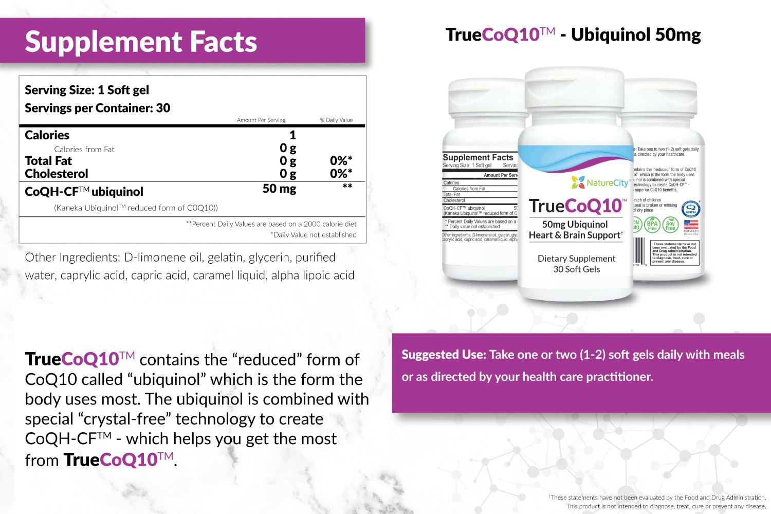 TrueCoQ10 50mg Supplement Facts and Suggested Use