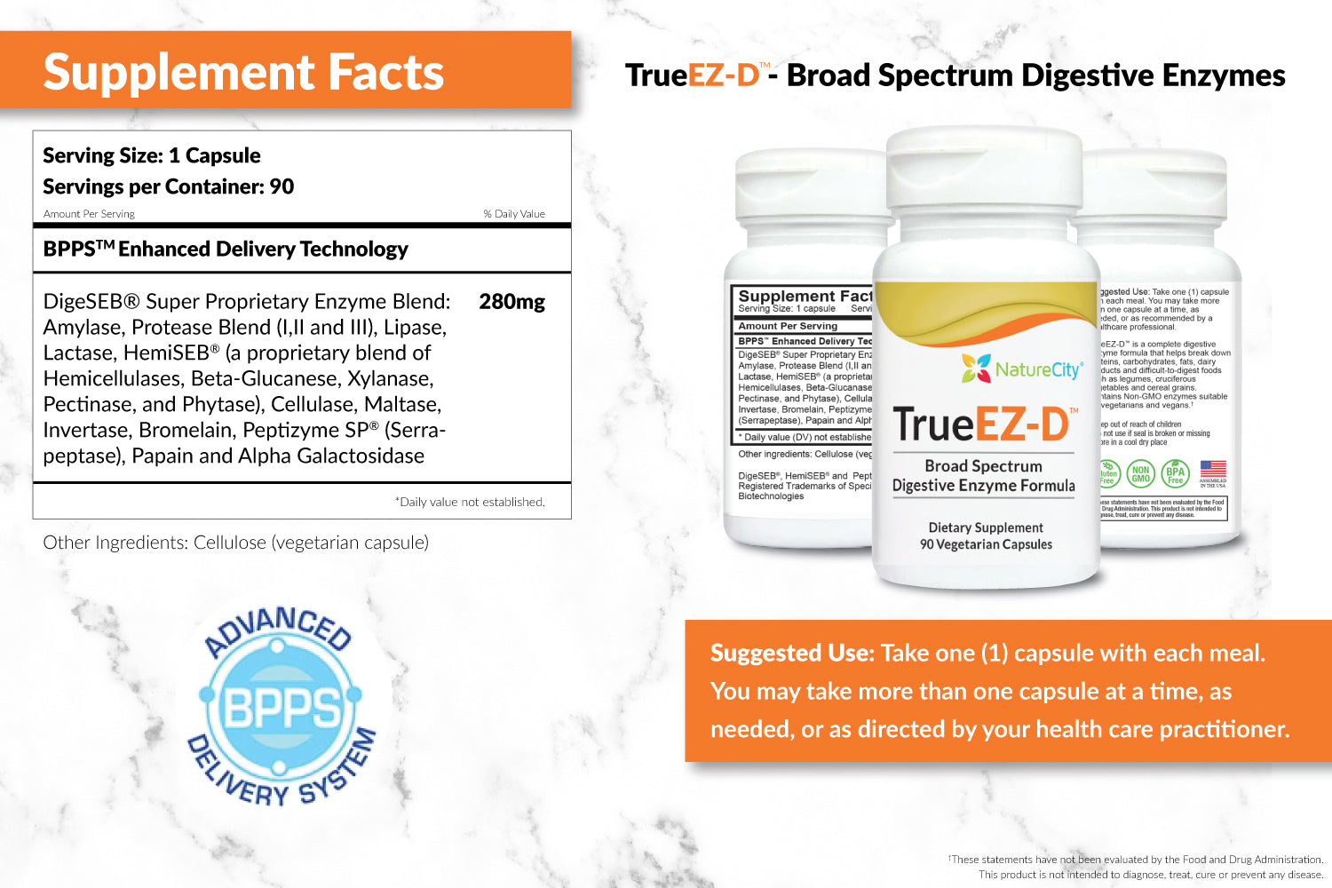 TrueEZ-D Digestive Enzymes Supplement Facts and Suggested Uses