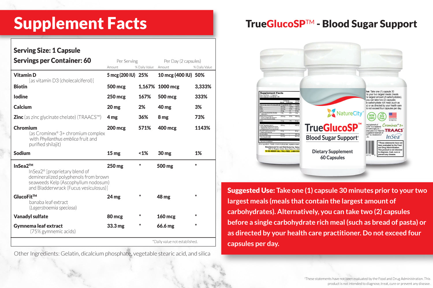 TrueGlucoSP Supplement Facts and Suggested Use