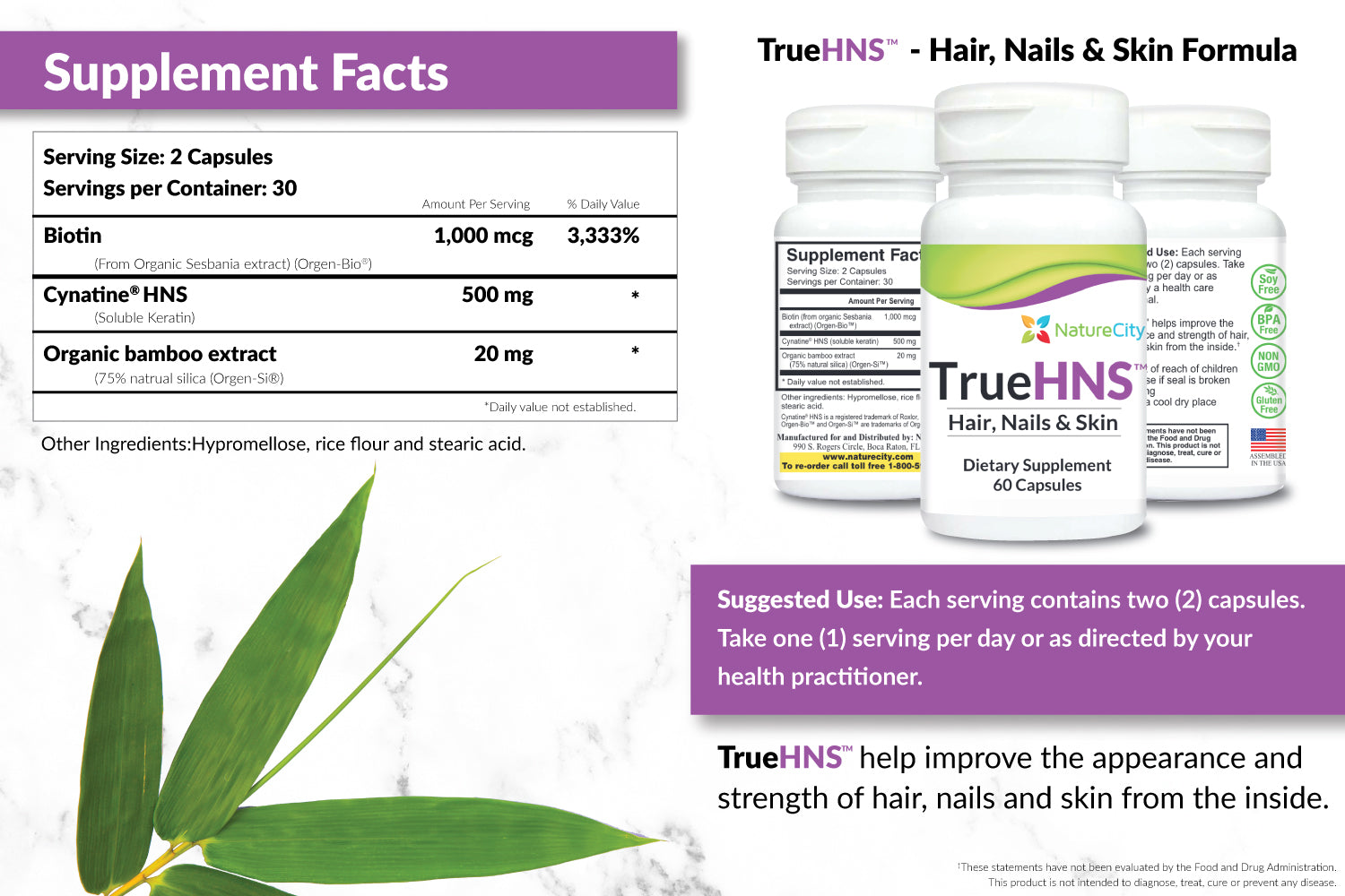 TrueHNS Hair Nails Skin Support Supplement Facts Suggested Use