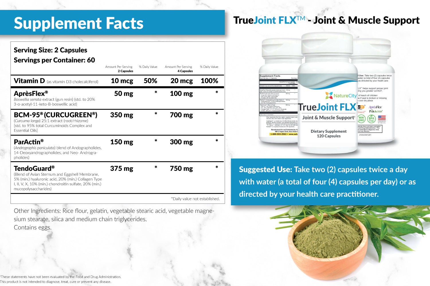 TrueJoint FLX Joint Support Supplement Facts Suggested Use