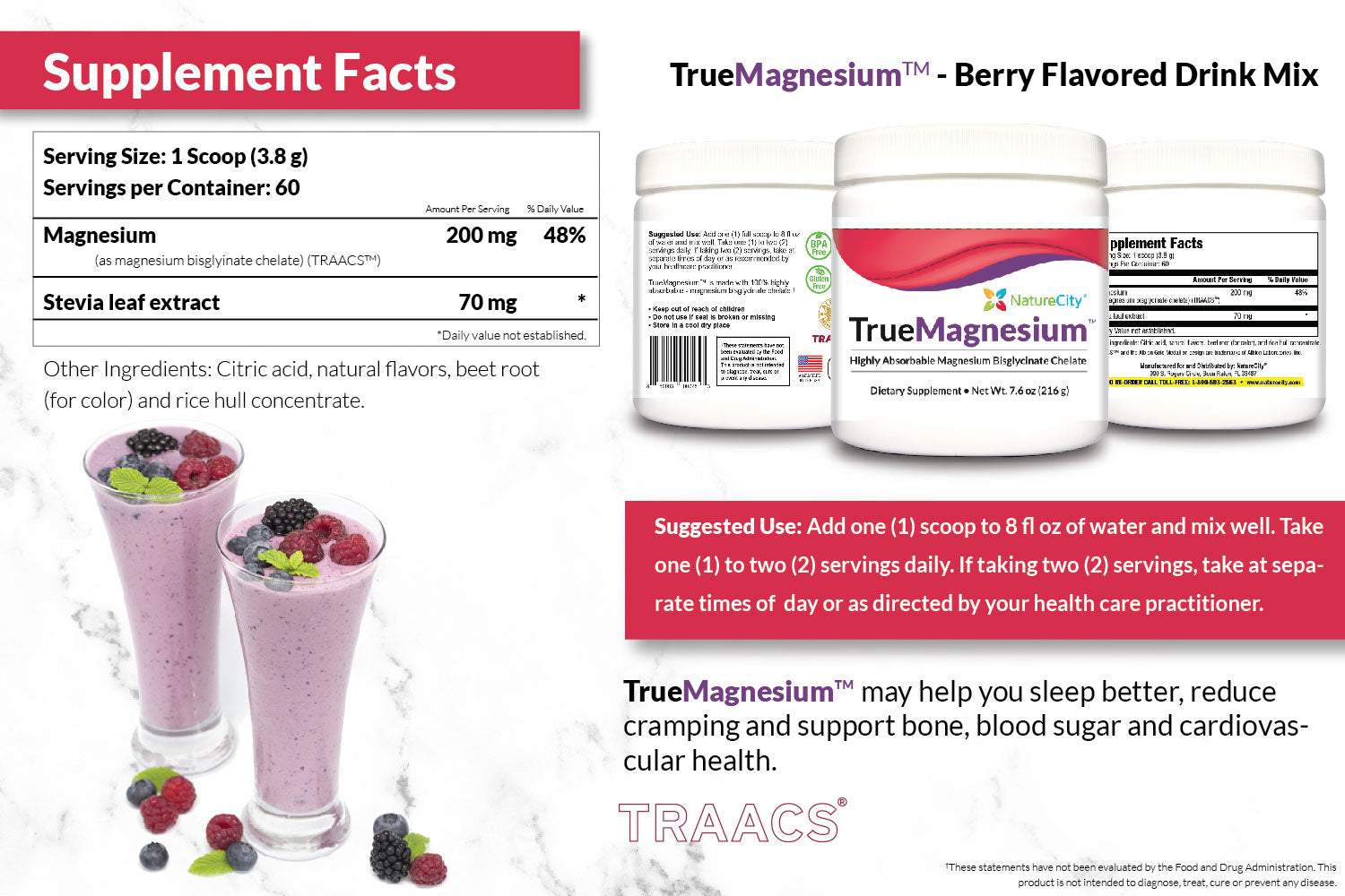 TrueMagnesium Supplement Facts and Suggested Use