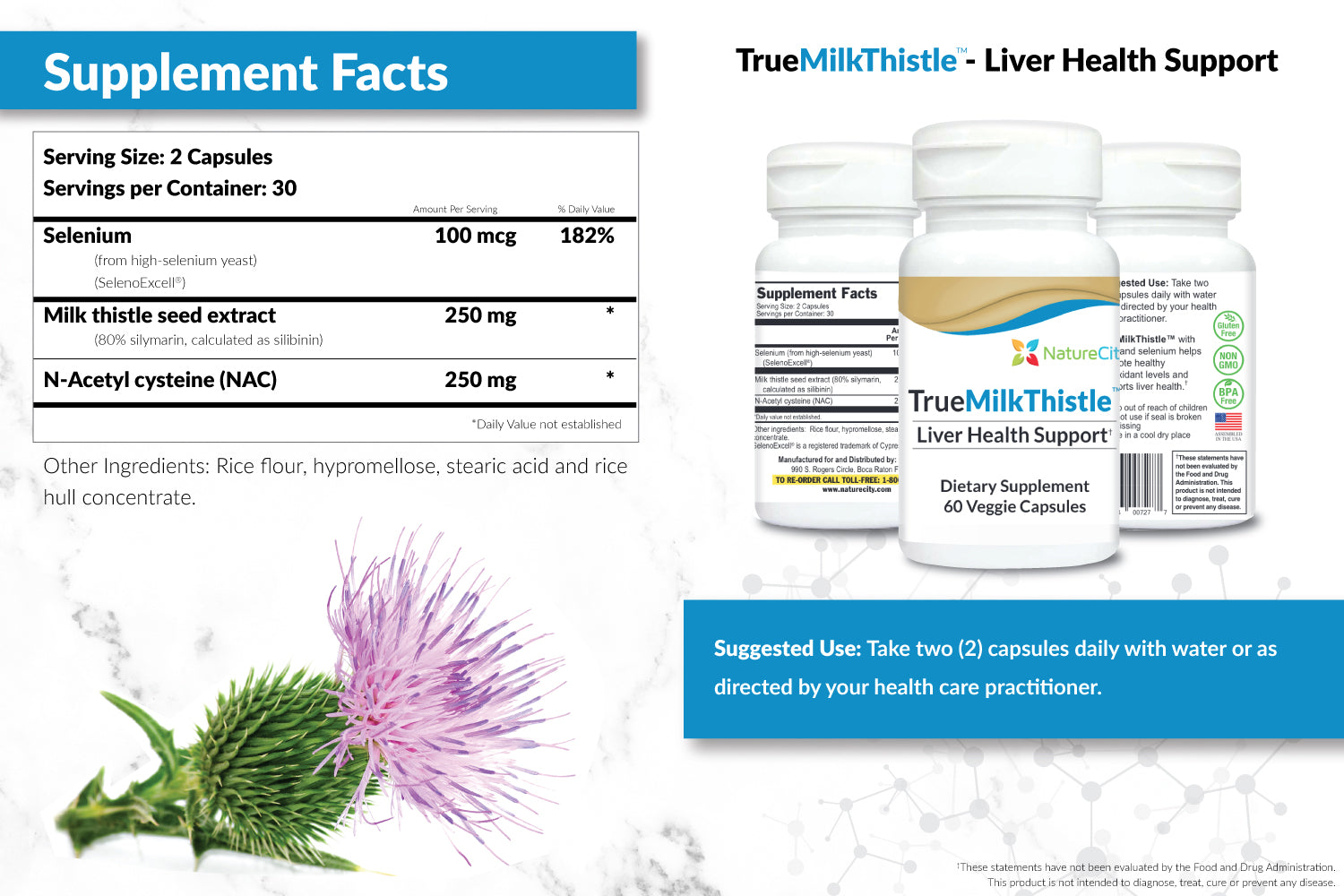 TrueMilkThistle Liver Detox Supplement Facts