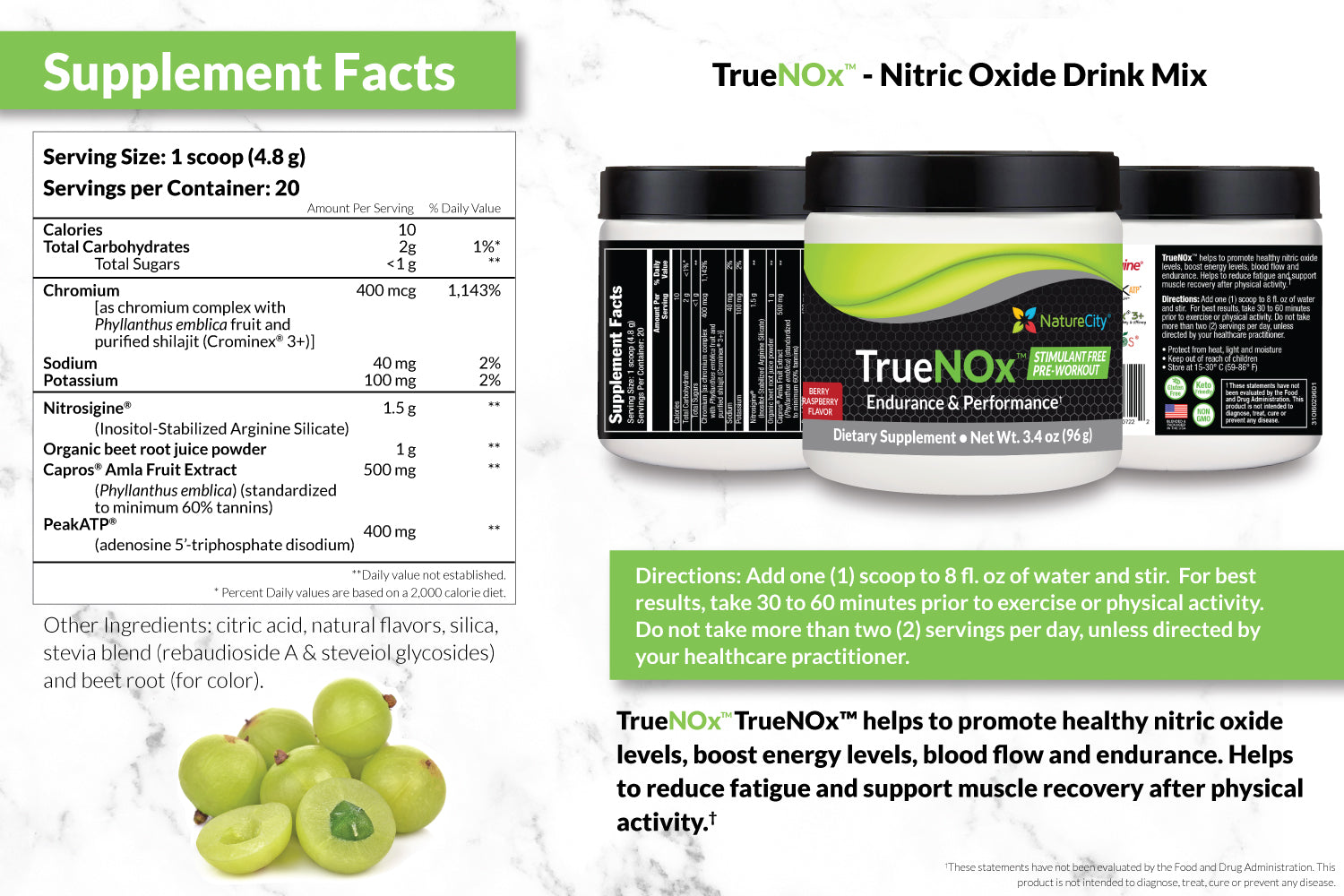 TrueNOx Nitric Oxide Booster Supplement Facts and Suggested Use