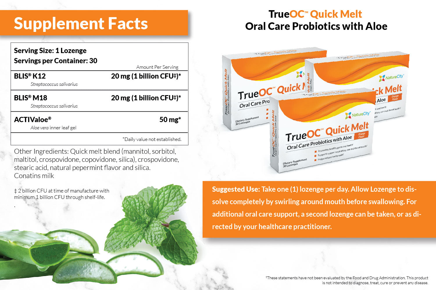 TrueOC Oral Probiotic Supplement Facts and Directions