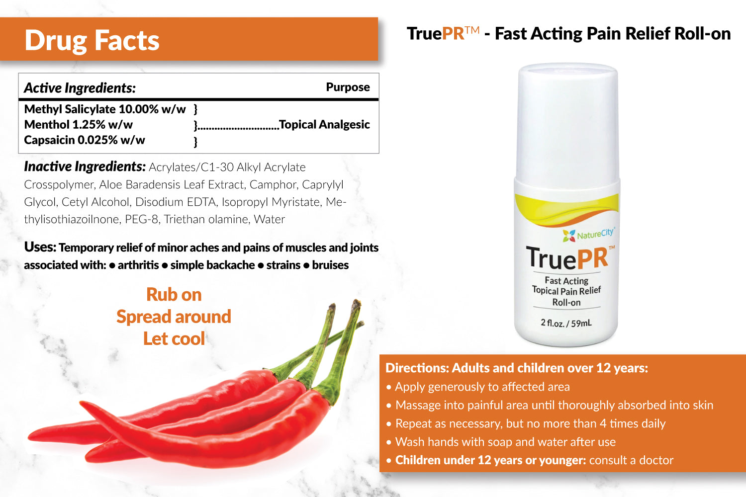 TruePR Supplement Facts and Directions