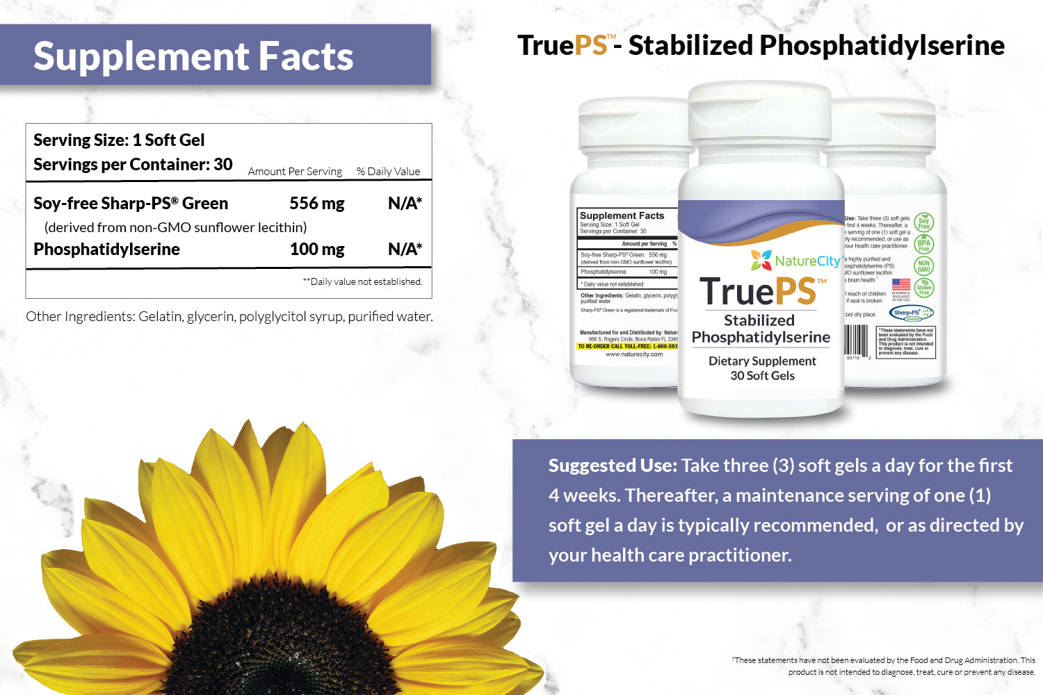 TruePS Stabilized Phosphatidylserine Supplement Facts and Suggested Uses