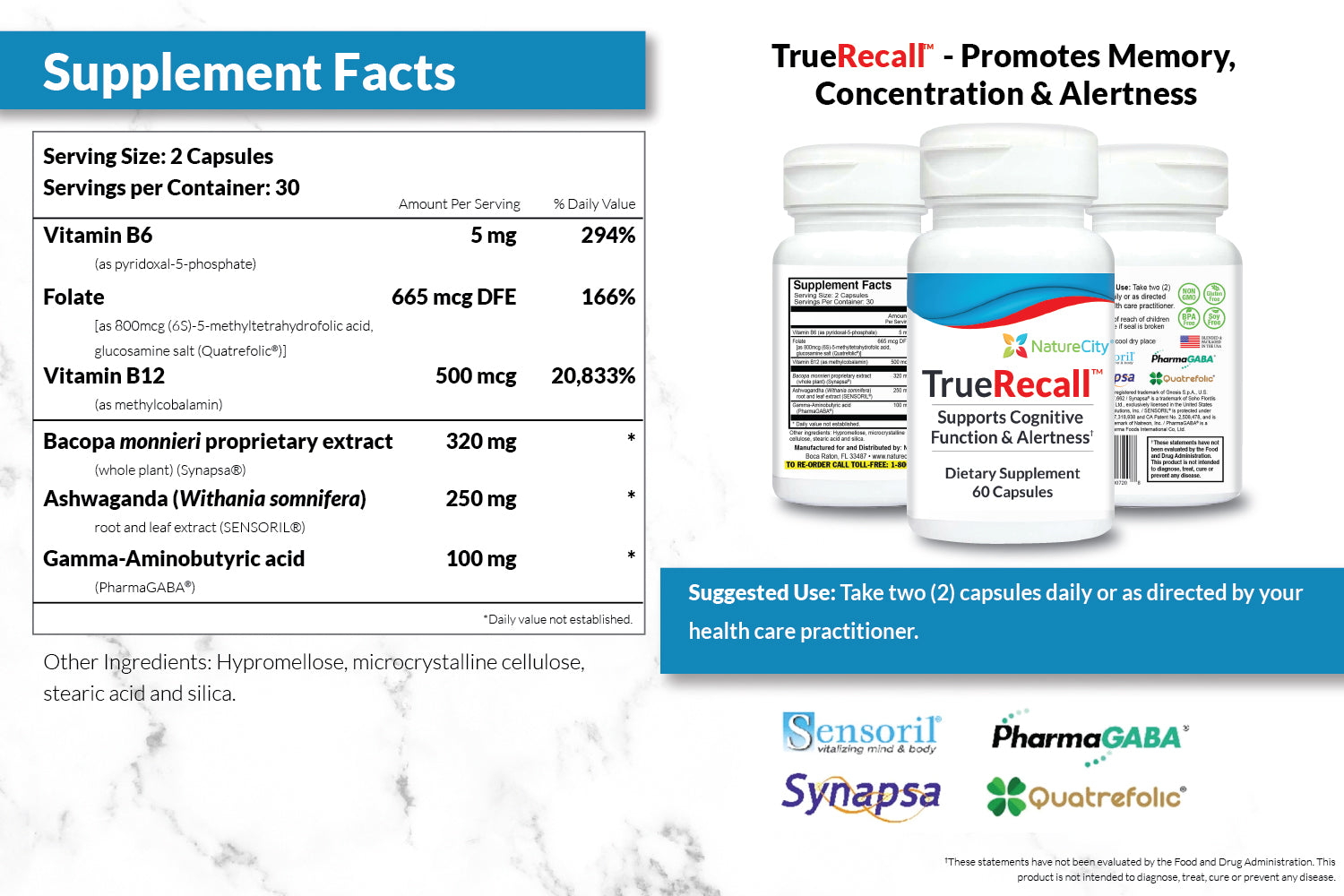 TrueRecall Supplement Facts and Directions