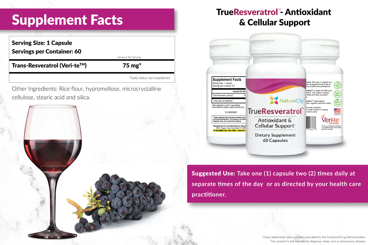 TrueResveratrol Supplement Facts and Suggested Use