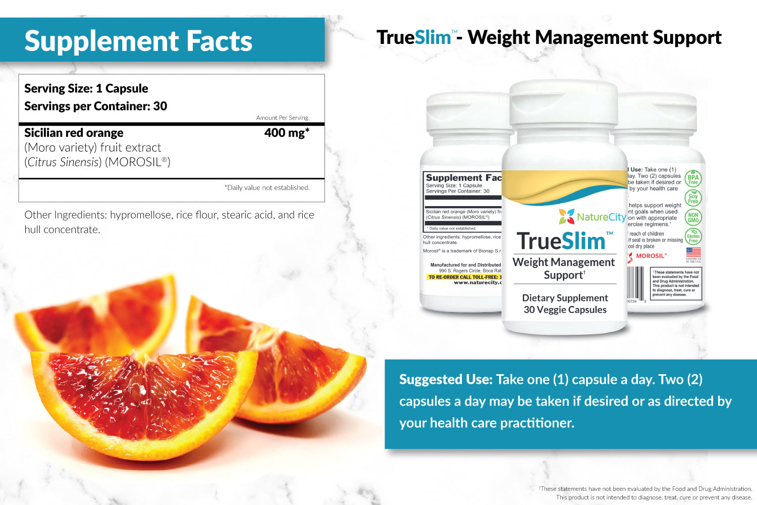 TrueSlim Weight Loss Support Supplement Facts and Suggested Uses
