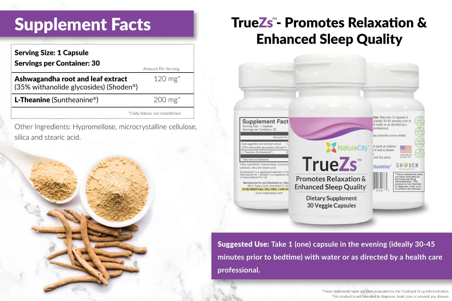 TrueZs Supplement Facts and Suggested Use