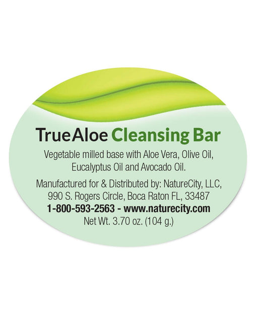 TrueAloe Cleansing Bar Label Aloe Vera Olive Oil Eucalyptus Oil Avocado Oil