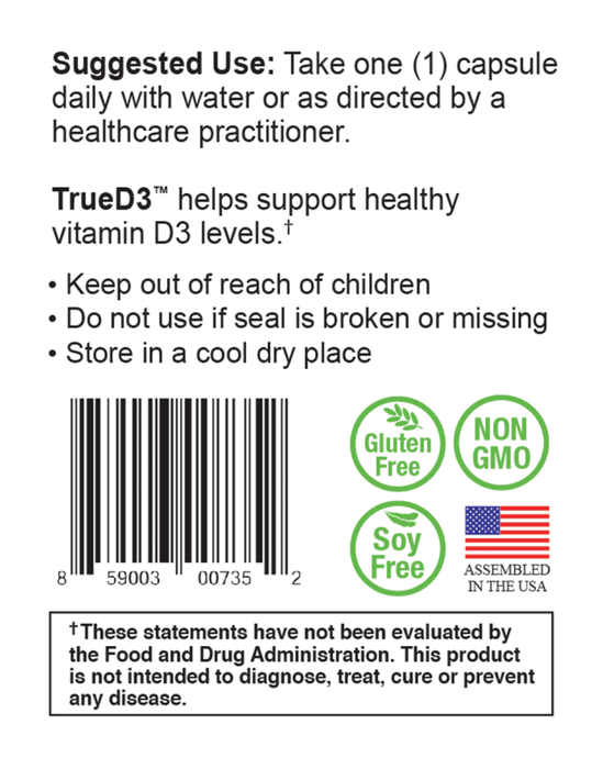 TrueD3 - Suggested Use Support Healthy D3 Levels