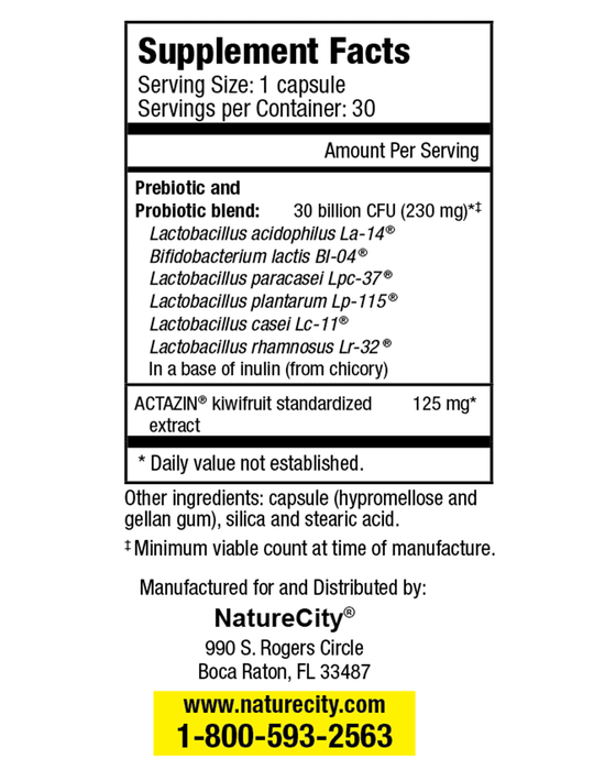 TrueLife PB - Supplement Facts 6 Strains of Bacteria