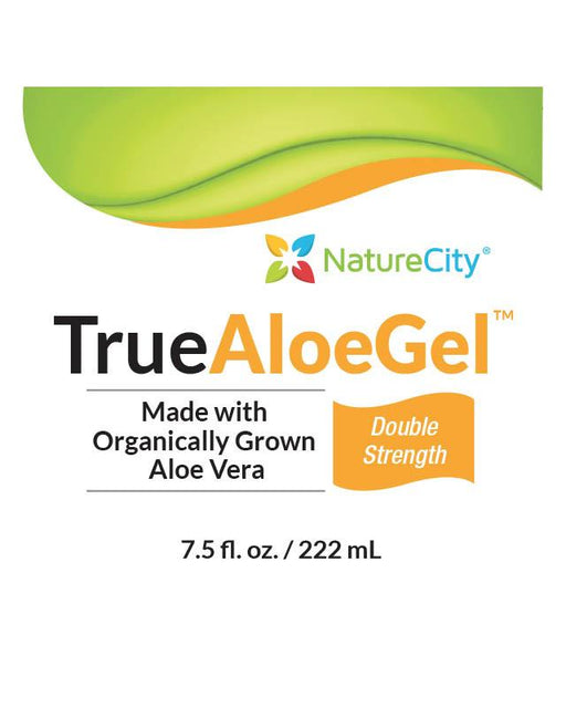 TrueAloeGel - Aloe Vera Topical Gel Label Made With Organically Grown Aloe Vera