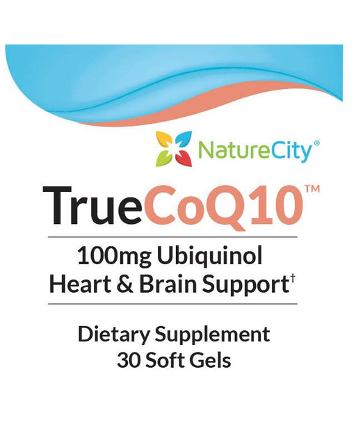 TrueCoQ10 - Label Ubiquinol 100mg Heart and Brain Support