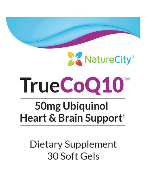 TrueCoQ10 - Label Ubiquinol 50mg Heart and Brain Support