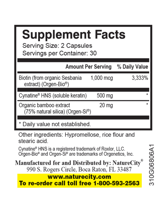 TrueHNS - Supplement Facts bamboo extract