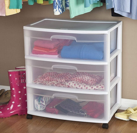 Sterilite Wide 3 Drawer Cart, Clear Drawers and White Frame