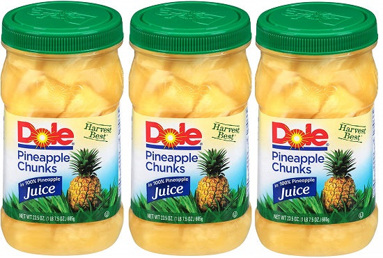 Dole Pineapple Chunks, 23.5 Ounce Jars (Pack of 8)