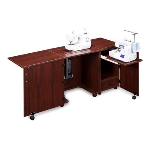 Compact Sewing Machine & Serger Cabinet in Mahogany