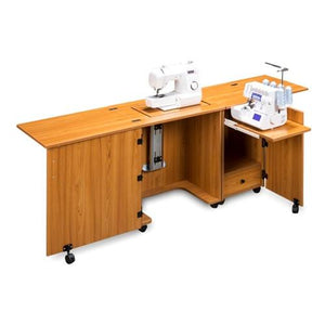 Compact Sewing Machine & Serger Cabinet in Teak