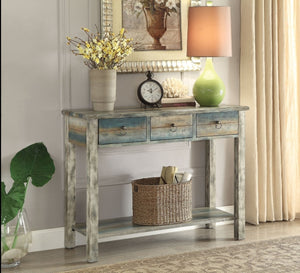 Acme 97257 Glancio Antique White Teal 3 Drawer Console Table