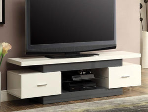 Acme 91302 Vicente White and Gray Wood Finish TV Stand