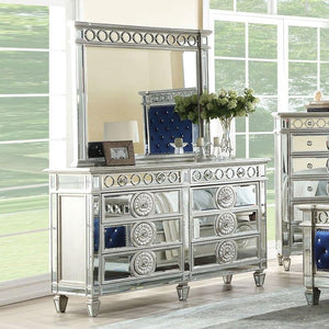 Acme 26155 Varian Blue Mirrored Finish Dresser With Mirror