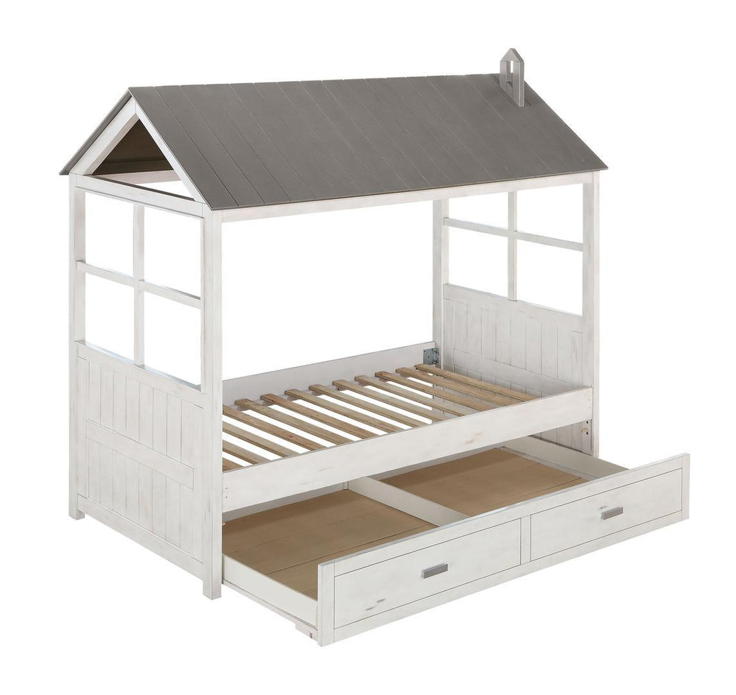 Acme 37170T Tree House White And Gray Finish Twin Bed With Trundle