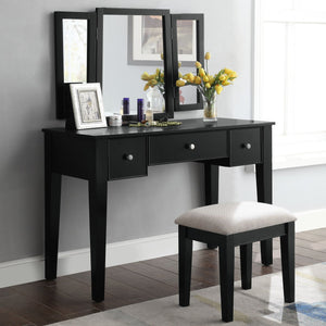 Acme 90360 Severus Black Wood Finish 3 Piece Vanity Desk Set