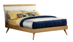 1915K-1CK Modern Light Ash Wood Ivory Vinyl Cal King Platform Bed